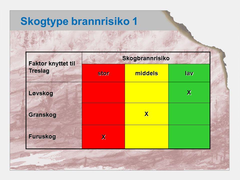 Skogtype brannrisiko 1 Faktor knyttet til Treslag Skogbrannrisiko stor
