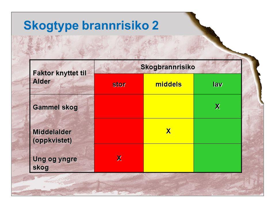 Skogtype brannrisiko 2 Faktor knyttet til Alder Skogbrannrisiko stor