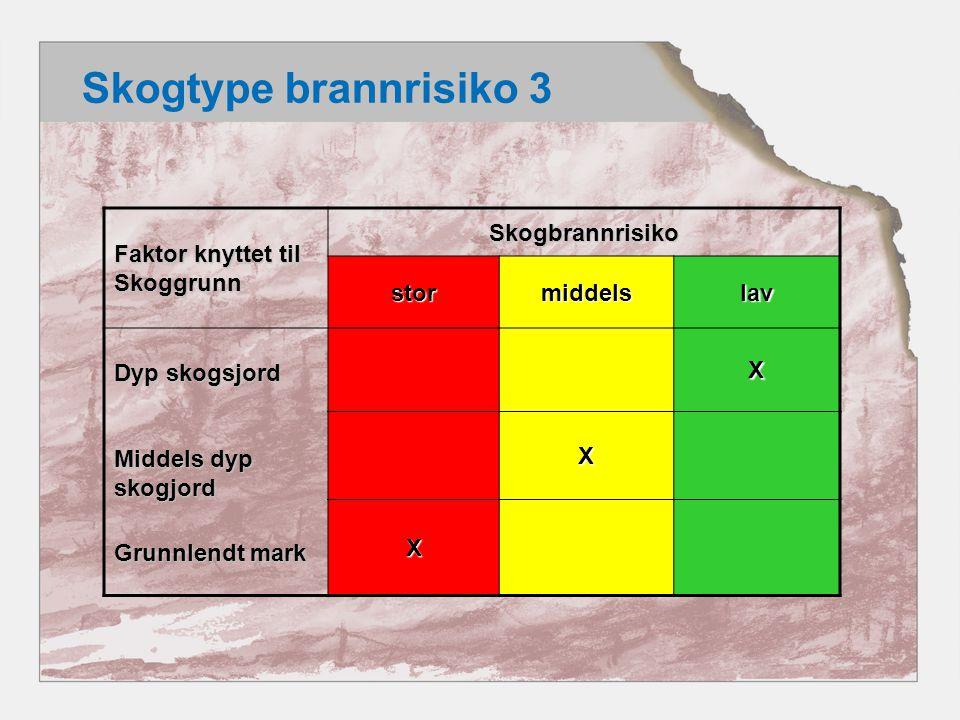 Skogtype brannrisiko 3 Faktor knyttet til Skoggrunn Skogbrannrisiko