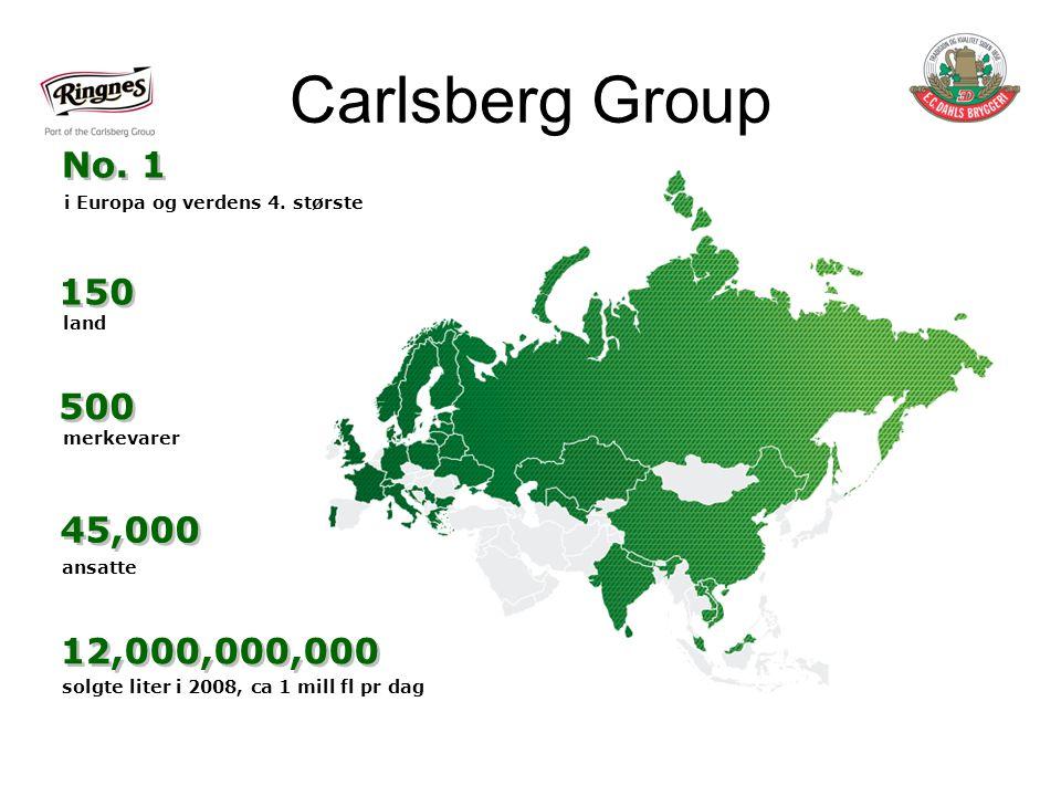 Carlsberg Group No. 1. i Europa og verdens 4. største. 150. land. 500. merkevarer. 45,000. ansatte.