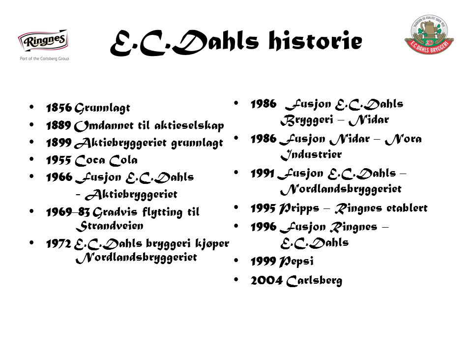 E.C.Dahls historie 1986 Fusjon E.C.Dahls Bryggeri – Nidar