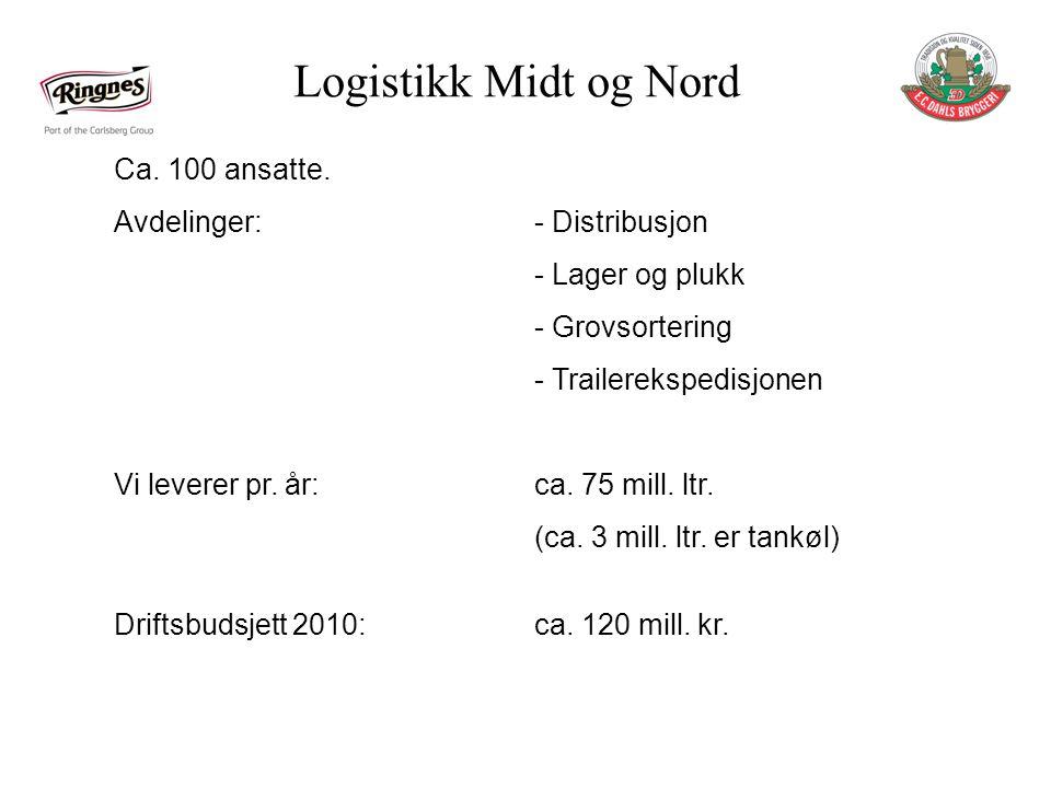Logistikk Midt og Nord Ca. 100 ansatte. Avdelinger: - Distribusjon