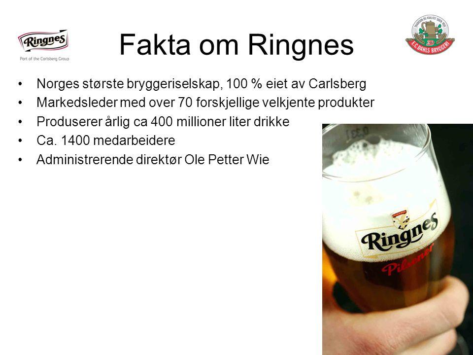 Fakta om Ringnes Norges største bryggeriselskap, 100 % eiet av Carlsberg. Markedsleder med over 70 forskjellige velkjente produkter.