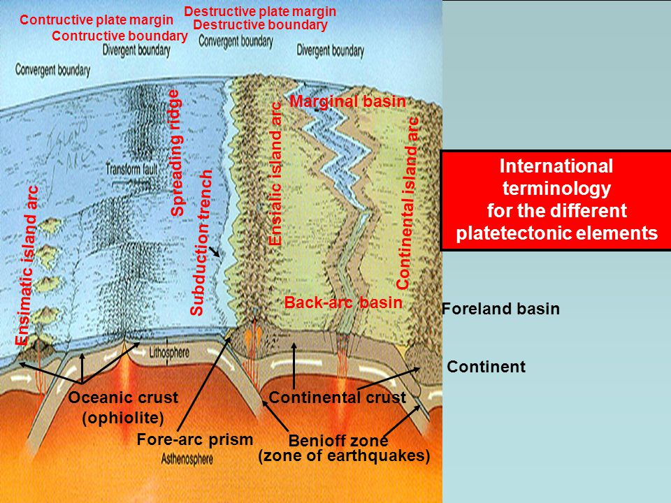 International terminology platetectonic elements