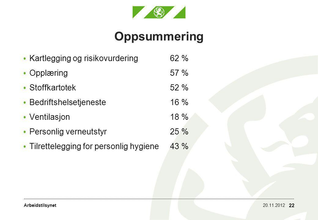 Oppsummering Kartlegging og risikovurdering 62 % Opplæring 57 %