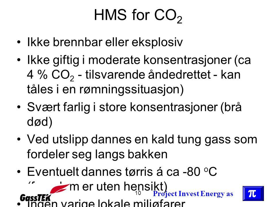 HMS for CO2 Ikke brennbar eller eksplosiv