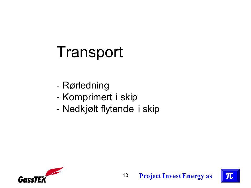 Transport - Rørledning - Komprimert i skip - Nedkjølt flytende i skip