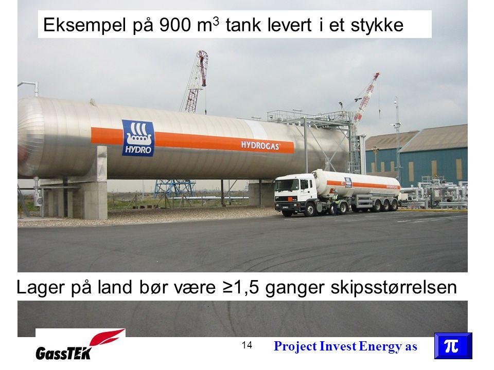 Eksempel på 900 m3 tank levert i et stykke