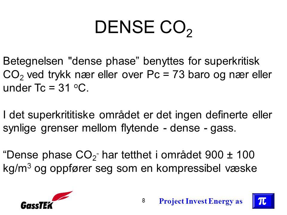 DENSE CO2 Betegnelsen dense phase benyttes for superkritisk CO2 ved trykk nær eller over Pc = 73 baro og nær eller under Tc = 31 oC.