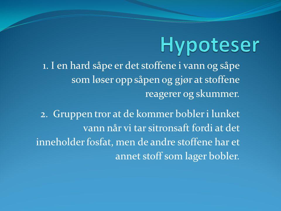Hypoteser 1. I en hard såpe er det stoffene i vann og såpe som løser opp såpen og gjør at stoffene reagerer og skummer.