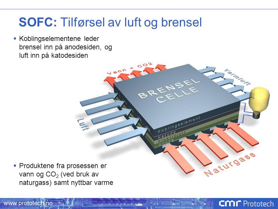 SOFC: Tilførsel av luft og brensel