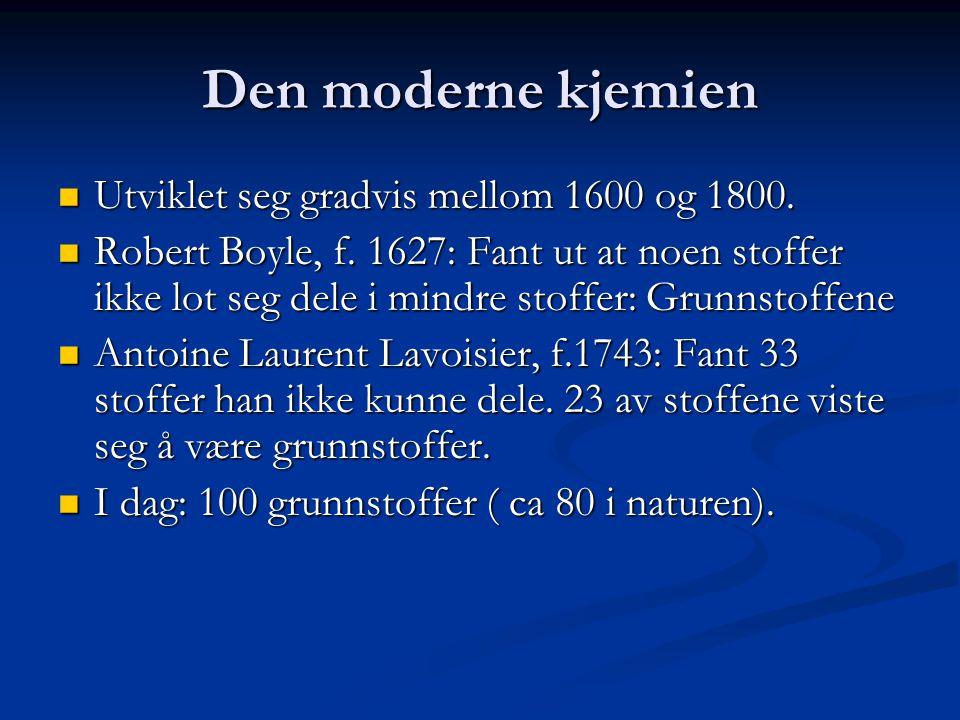 Den moderne kjemien Utviklet seg gradvis mellom 1600 og 1800.