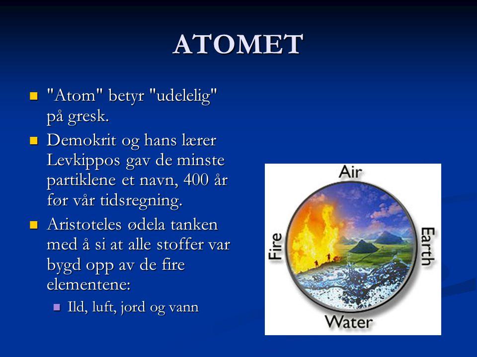 ATOMET Atom betyr udelelig på gresk.