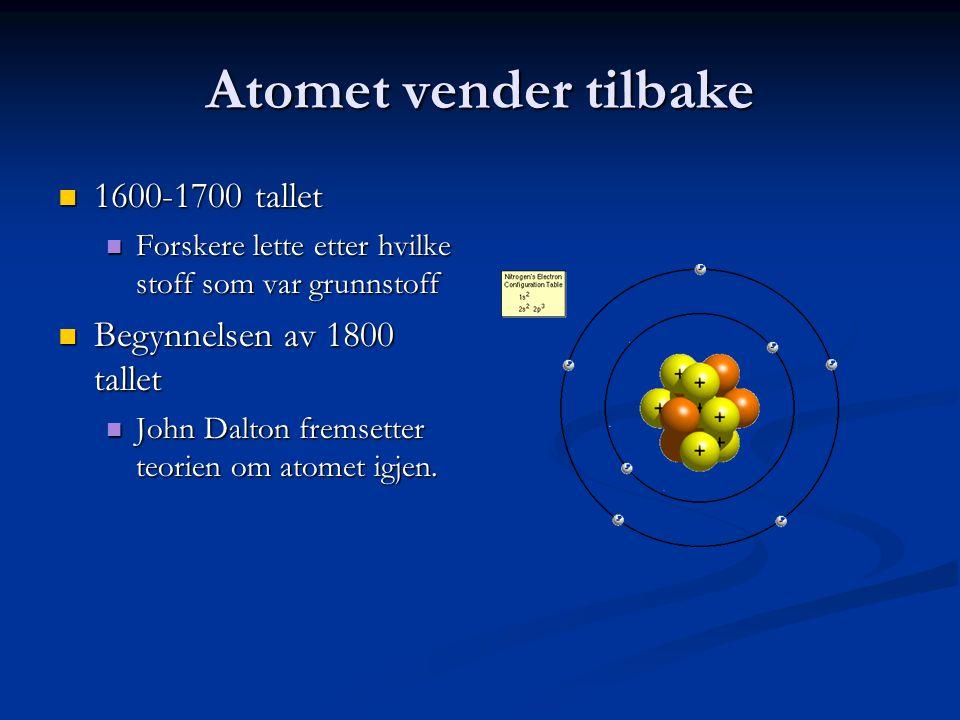 Atomet vender tilbake 1600-1700 tallet Begynnelsen av 1800 tallet