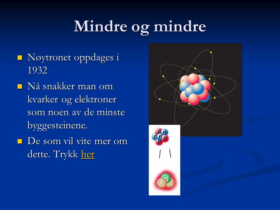 Mindre og mindre Nøytronet oppdages i 1932