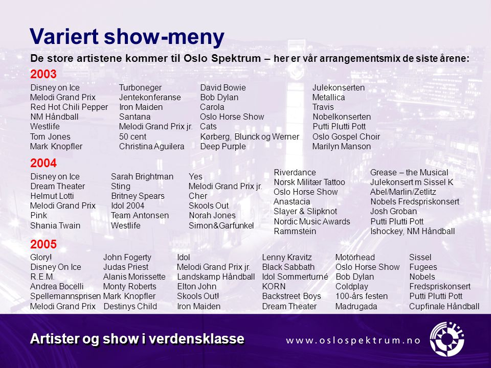 Variert show-meny Artister og show i verdensklasse 2003 2004 2005