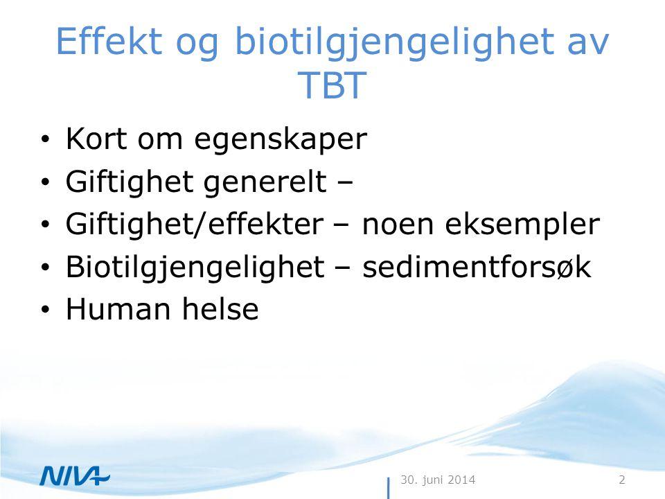 Effekt og biotilgjengelighet av TBT