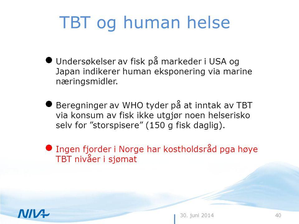 TBT og human helse Undersøkelser av fisk på markeder i USA og Japan indikerer human eksponering via marine næringsmidler.