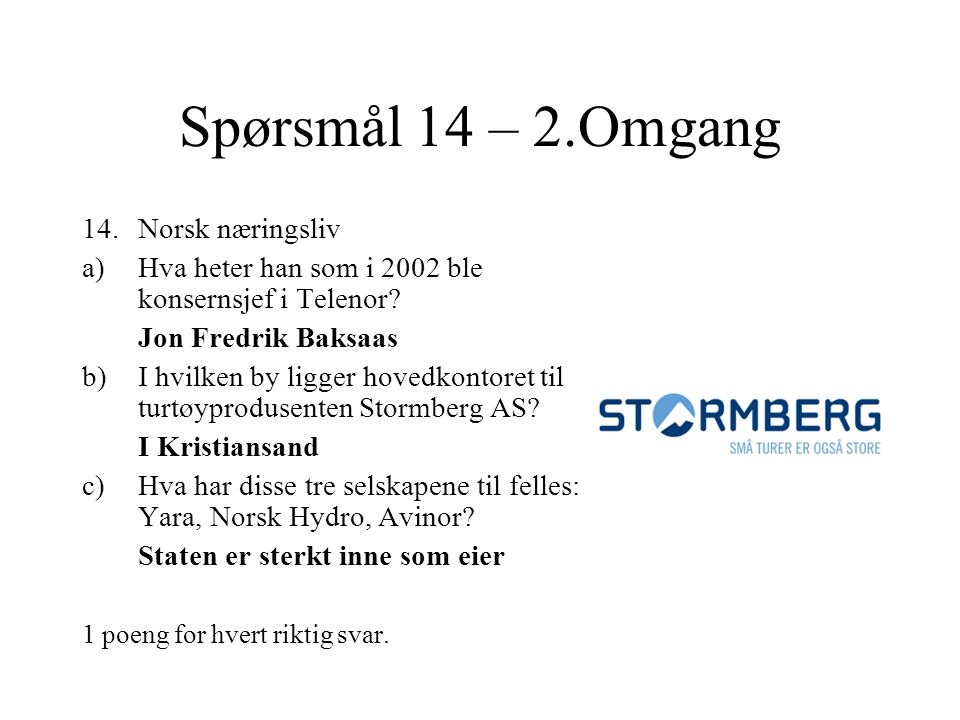 Spørsmål 14 – 2.Omgang Norsk næringsliv
