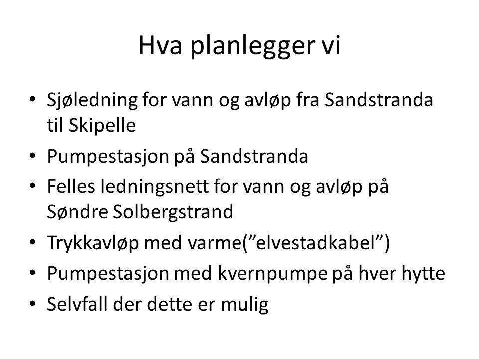 Hva planlegger vi Sjøledning for vann og avløp fra Sandstranda til Skipelle. Pumpestasjon på Sandstranda.