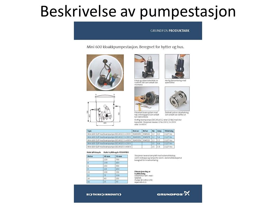 Beskrivelse av pumpestasjon
