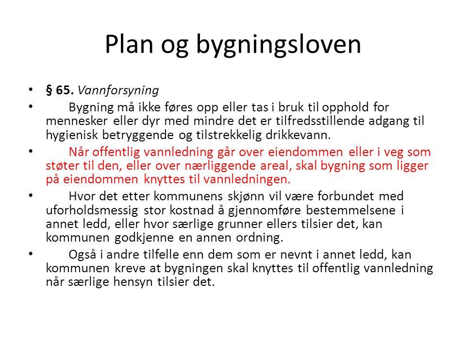 Plan og bygningsloven § 65. Vannforsyning