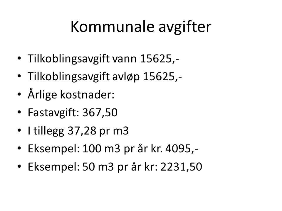 Kommunale avgifter Tilkoblingsavgift vann 15625,-