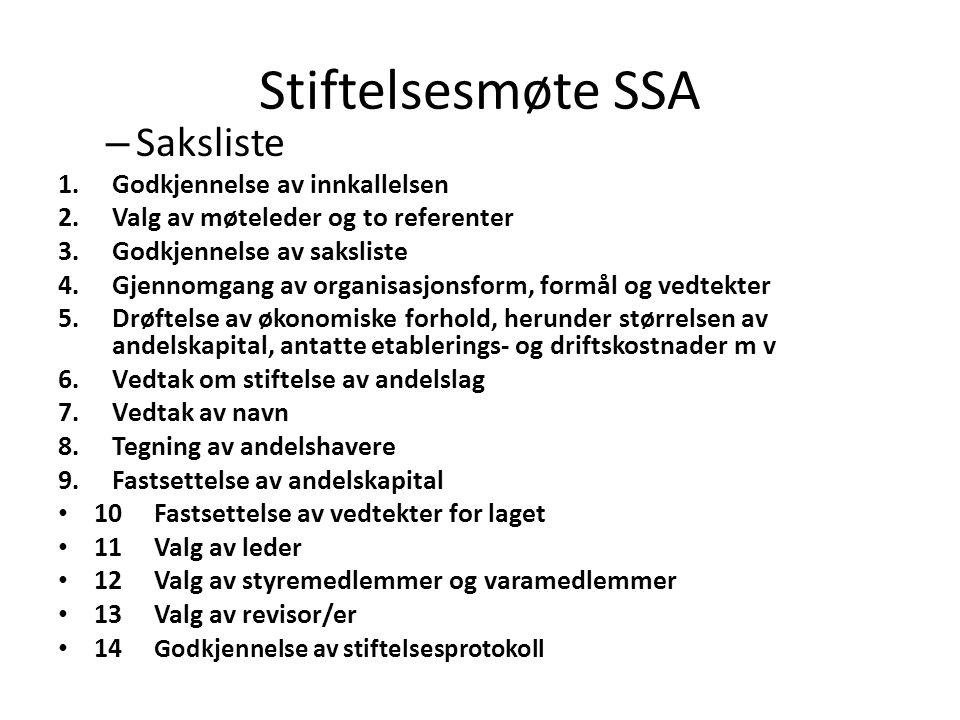 Stiftelsesmøte SSA Saksliste Godkjennelse av innkallelsen