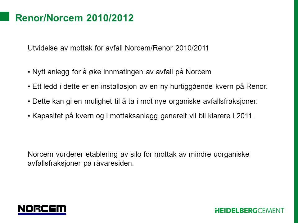 Renor/Norcem 2010/2012 Utvidelse av mottak for avfall Norcem/Renor 2010/2011. Nytt anlegg for å øke innmatingen av avfall på Norcem.