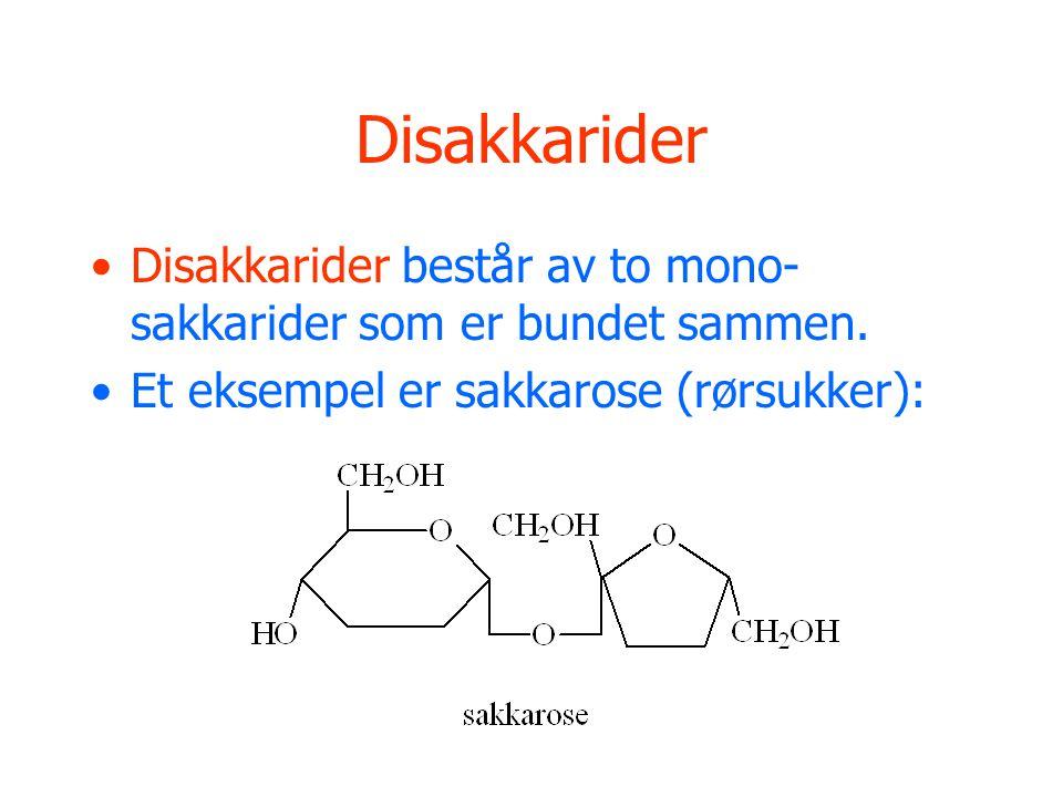 Disakkarider Disakkarider består av to mono-sakkarider som er bundet sammen.