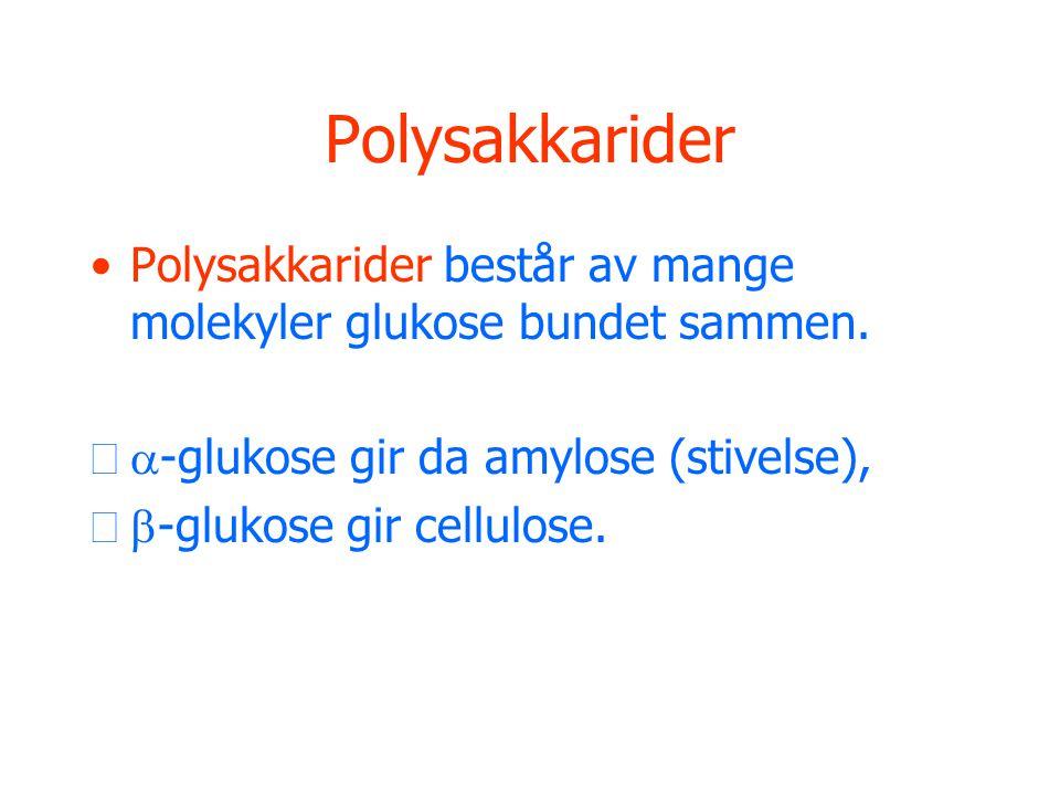 Polysakkarider Polysakkarider består av mange molekyler glukose bundet sammen. a-glukose gir da amylose (stivelse),