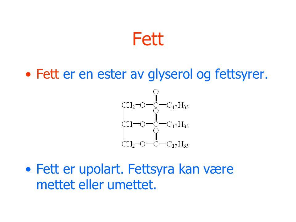 Fett Fett er en ester av glyserol og fettsyrer.