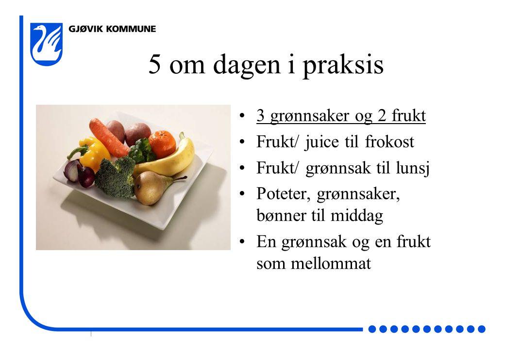 5 om dagen i praksis 3 grønnsaker og 2 frukt Frukt/ juice til frokost