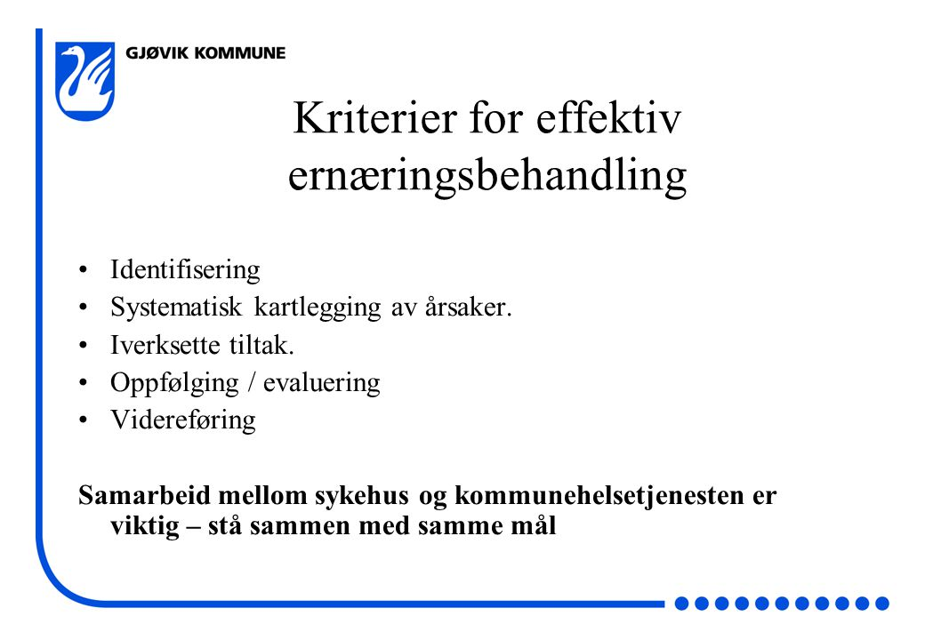 Kriterier for effektiv ernæringsbehandling