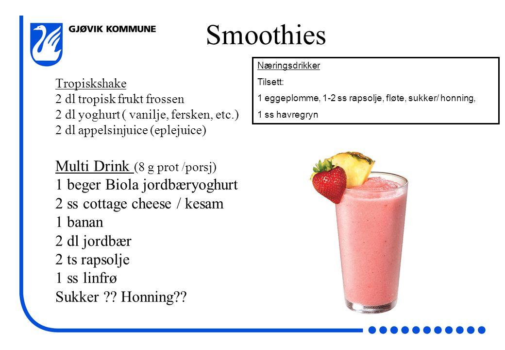 Smoothies Multi Drink (8 g prot /porsj) 1 beger Biola jordbæryoghurt