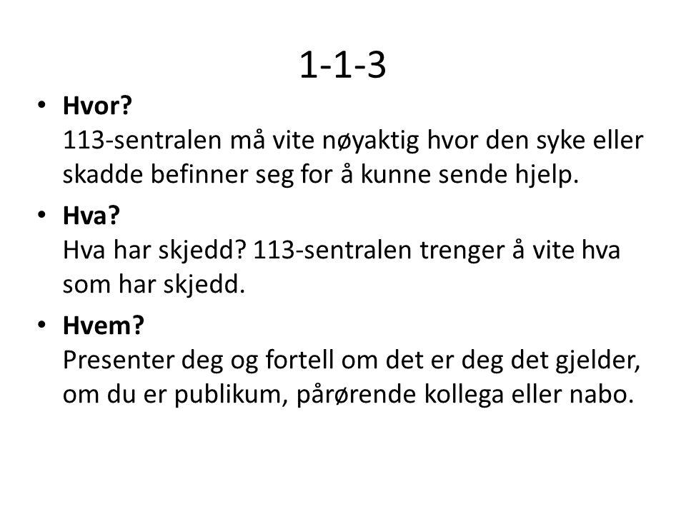 1-1-3 Hvor 113-sentralen må vite nøyaktig hvor den syke eller skadde befinner seg for å kunne sende hjelp.