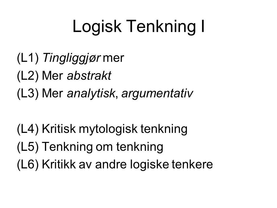 Logisk Tenkning I (L1) Tingliggjør mer (L2) Mer abstrakt