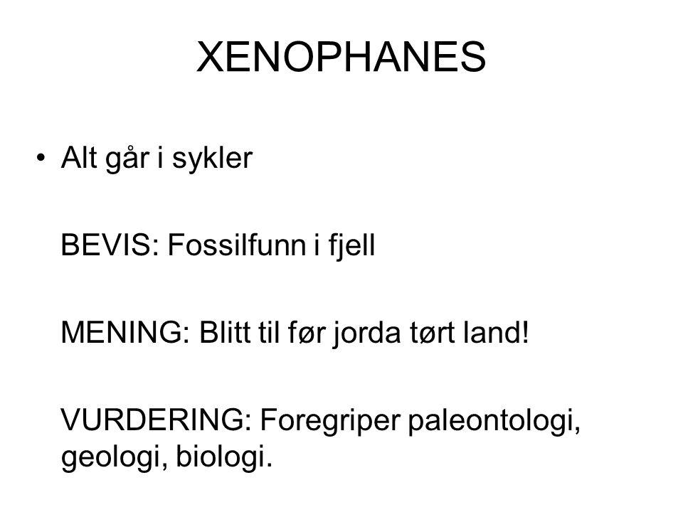XENOPHANES Alt går i sykler BEVIS: Fossilfunn i fjell