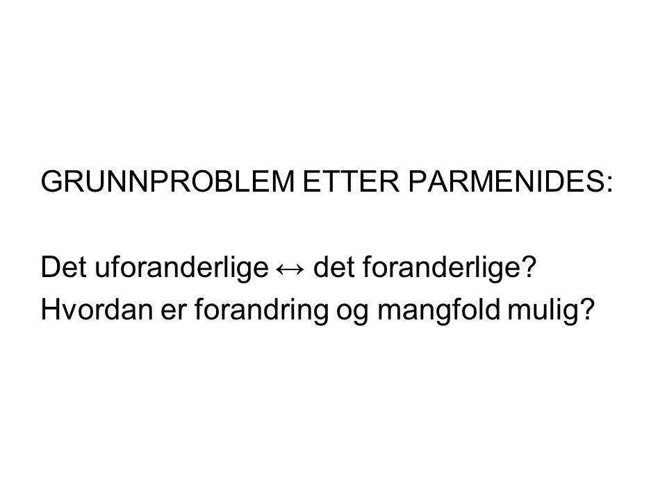 GRUNNPROBLEM ETTER PARMENIDES: