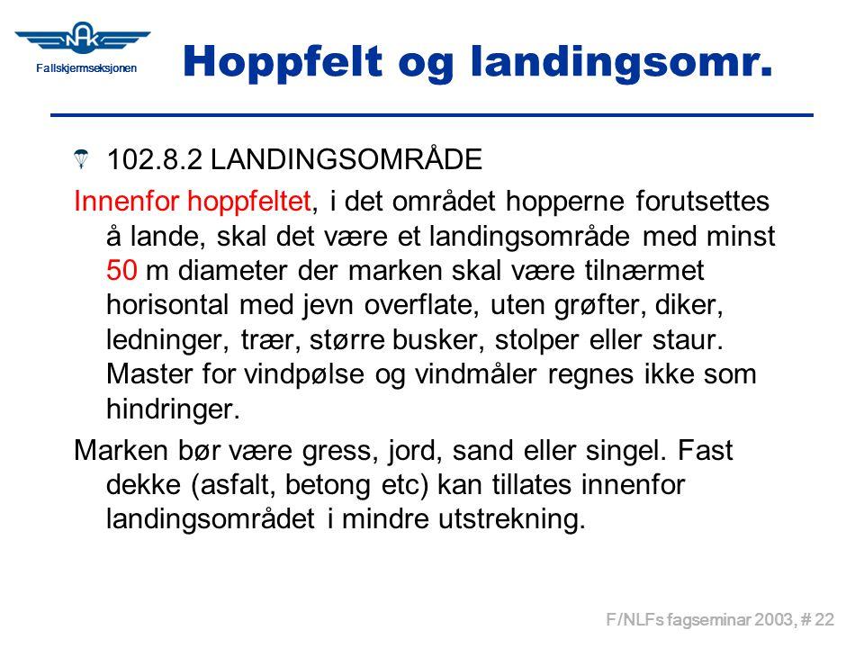 Hoppfelt og landingsomr.