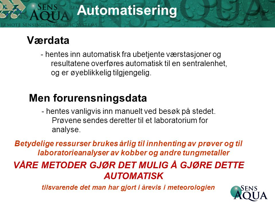 Automatisering Værdata Men forurensningsdata