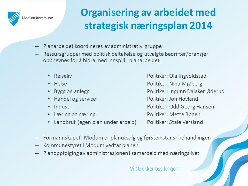 Organisering av arbeidet med strategisk næringsplan 2014