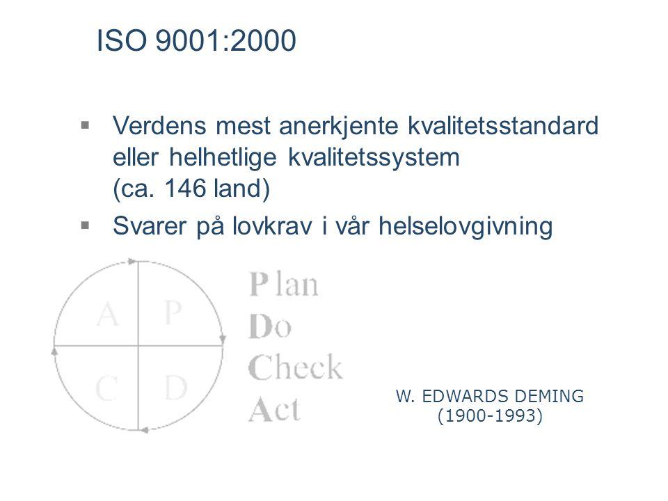 ISO 9001:2000 Verdens mest anerkjente kvalitetsstandard eller helhetlige kvalitetssystem (ca. 146 land)
