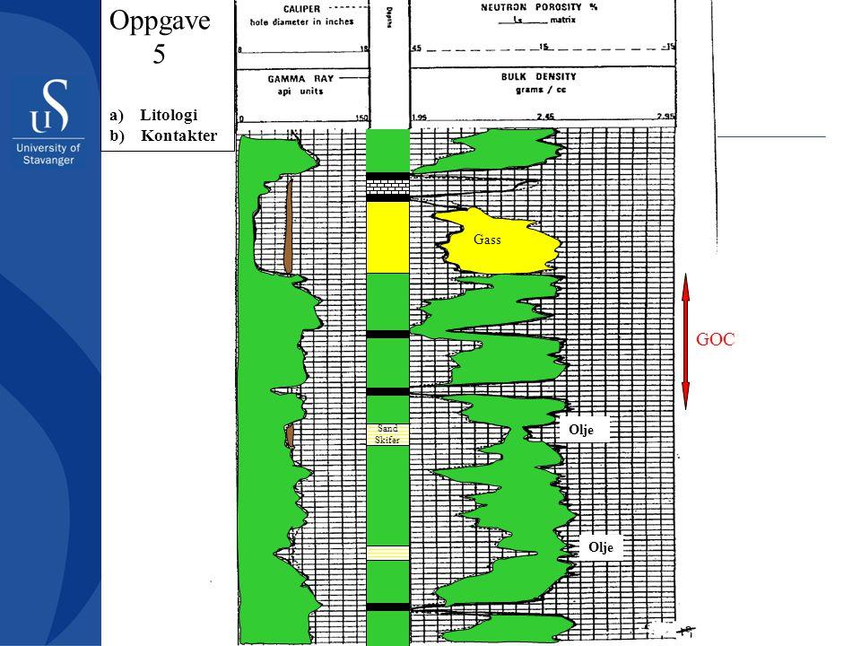 Oppgave 5 a) Litologi b) Kontakter Gass GOC Olje Sand Skifer Olje