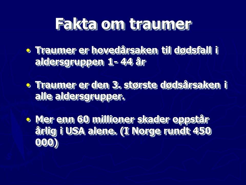 Fakta om traumer Traumer er hovedårsaken til dødsfall i aldersgruppen 1- 44 år. Traumer er den 3. største dødsårsaken i alle aldersgrupper.
