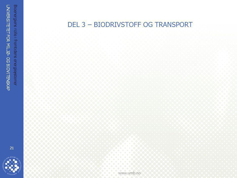 DEL 3 – BIODRIVSTOFF OG TRANSPORT
