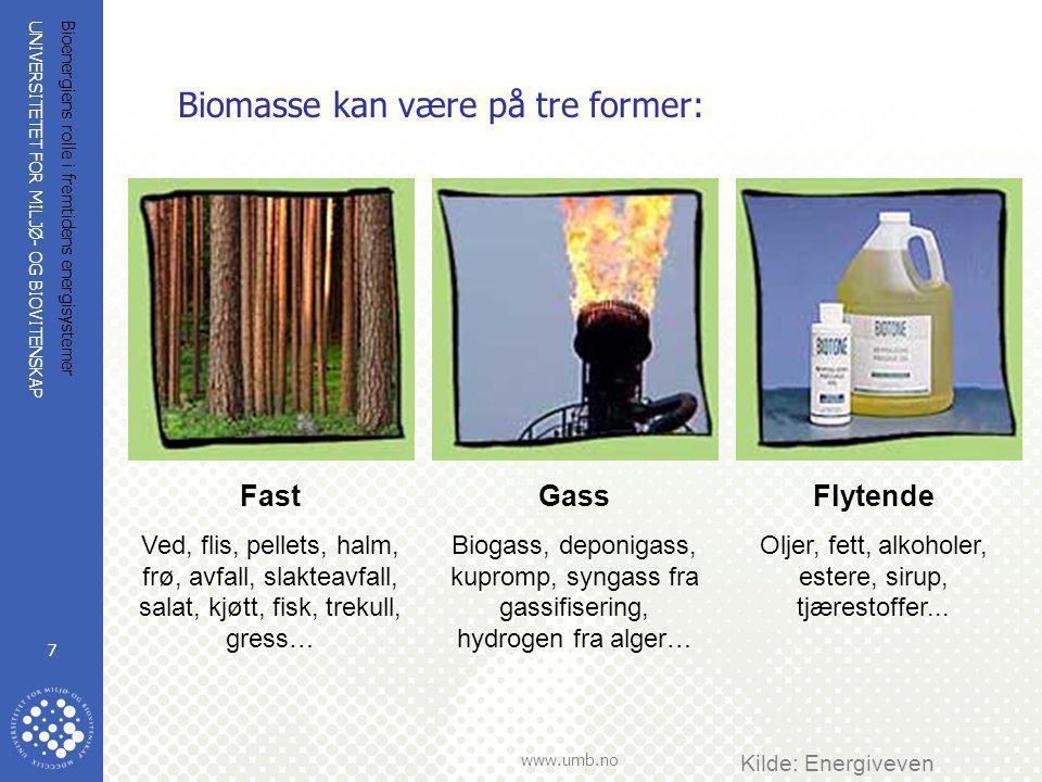 Biomasse kan være på tre former: