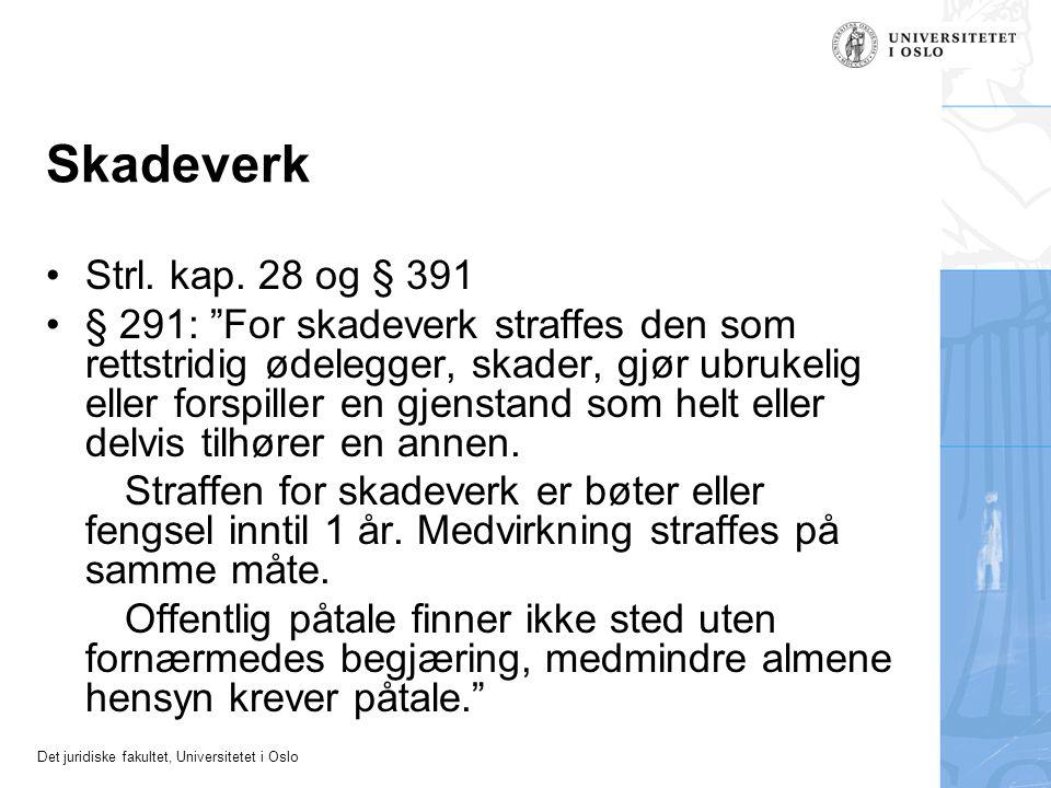 Skadeverk Strl. kap. 28 og § 391.