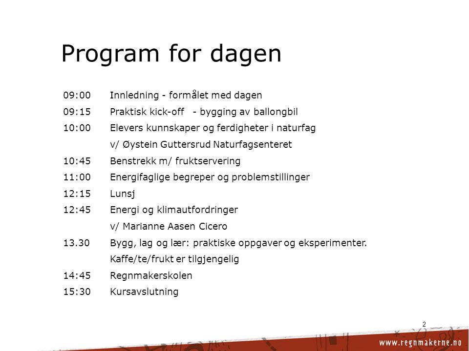 Program for dagen 09:00 Innledning - formålet med dagen