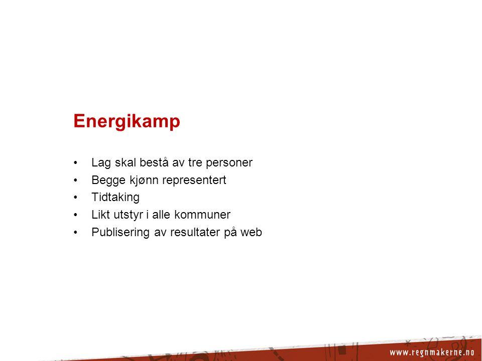 Energikamp Lag skal bestå av tre personer Begge kjønn representert